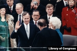 Bush being sworn-in as president in 1989