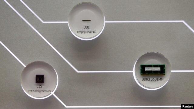 Những con chip cho bộ nhớ của máy vi tính do Samsung sản xuất.