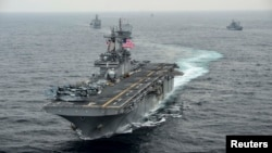 FILE - The amphibious assault ship USS Boxer transits the East Sea during an exercise.