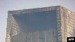 中国央视配楼一年前大火后的惨状