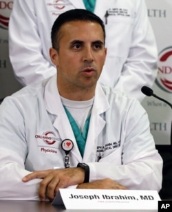 Dr. Joseph Ibrahim, one of the doctors who treated victims of the Pulse nightclub shooting, speaks at a news conference at the Orlando (Fla.) Regional Medical Center, June 14, 2016.