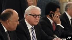 FILE - German Foreign Minister Frank-Walter Steinmeier talks at a hotel in Vienna, Austria.