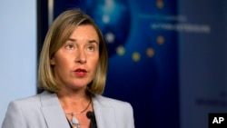 FILE: European Union foreign policy chief Federica Mogherini speaks during a media conference in Brussels, Jan. 11, 2018.