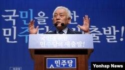 김한길 한국 민주당 대표가 13일 오전 국회 의원회관에서 신년 기자회견을 하고 있다.