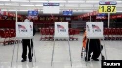 një qendër votimi në shtetin Illinoi, e zhvendosur në një supermarket për shkak të koronavirusit (17 mars 2020)