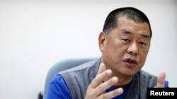 苹果日报老板黎智英(Jimmy Lai)过去在台北接受路透社采访