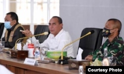 Gubernur Sumut, Edy Rahmayadi (tengah), Selasa 4 Agustus 2020. (Courtesy: Pemprov Sumut)