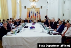 U.S. Secretary of State John Kerry meets with P5+1 members amid Iranian nuclear negotiations in Vienna, Austria, July 7, 2015.