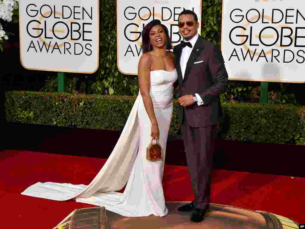 Taraji P. Henson, left, and Terrence Howard arrive at the 73rd annual Golden Globe Awards on Jan. 10, 2016, at the Beverly Hilton Hotel in Beverly Hills, Calif.