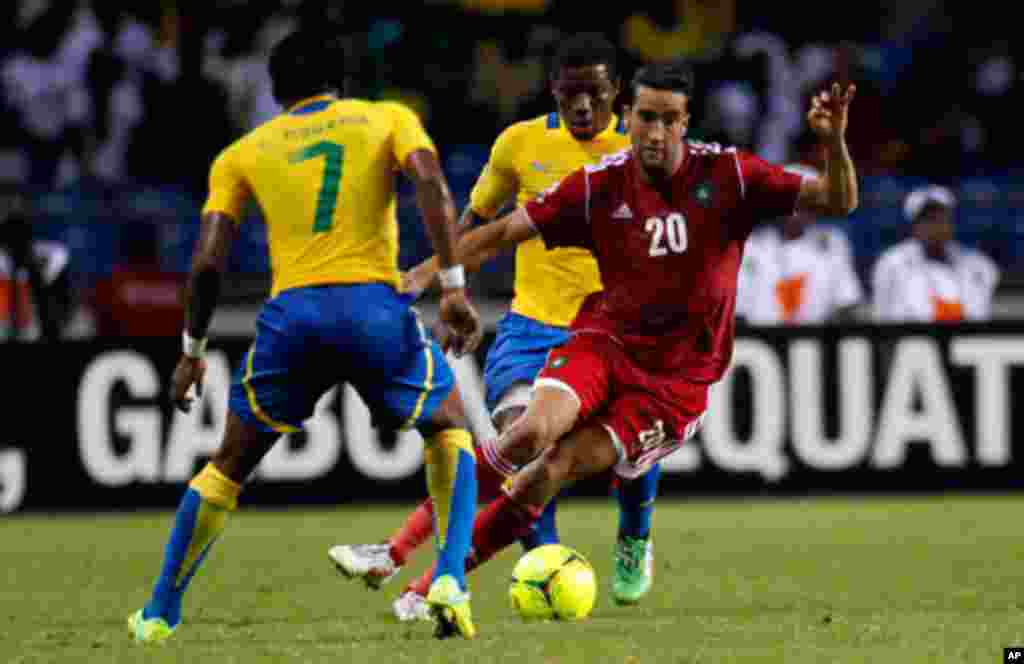 Morocco's Hadji drives the ball against Gabon during their African Cup of Nations soccer match in Libreville