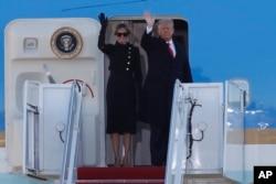 Varisinin andiçmə mərasiminə qatılmayan Donald Tramp cənubi Florida ştatına prezident təyyarəsində yekun uçuşunu edib.