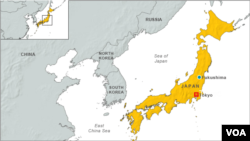 Map of Fukushima, Japan