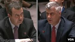 Ministri spoljnih poslova Srbije i Kosova, Ivica Dačić i Hašim Tači, na sednici Saveta bezbednosti UN u Njujorku, 26. maja 2015.