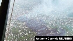 Aerial view shows the area affected by lava from the Mount Nyiragongo volcano eruption in Goma, Democratic Republic of Congo, May 23, 2021 in this picture obtained from social media. (Virunga National Park/Anthony Caer/via Reuters)