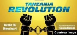 """A sign on U.S.-based Tanzanian activist Mange Kimambi's Instagram account calls for """"Tanzania Revolution"""" on April 26. It says, at lower right, """"We are going to protest."""""""
