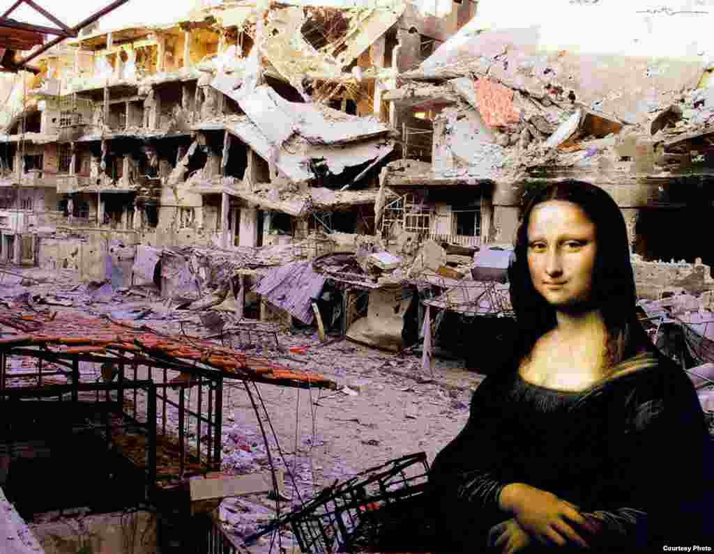 "The ambiguous smile of Leonardo da Vinci's ""Mona Lisa"" is juxtaposed against the collapsed roofs and twisted frames of Homs, the nation's third-largest city in Syria and a center of the rebellion. By Tammam Azzam."