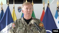 北約盟軍聯合作戰司令部司令、美國海軍歐洲-非洲戰區司令弗格海軍上將(James G. Foggo)2019年11月19日在科索沃發表講話。
