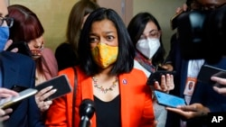 Rep. Pramila Jayapal, D-Wash, speaks with reporters on Capitol Hill, Oct. 1, 2021.