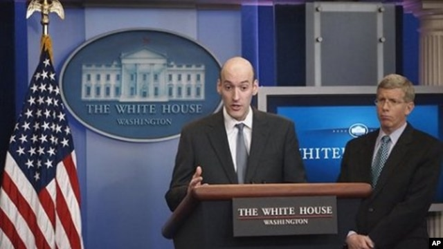Nuclear Regulatory Commission Chairman Gregory Jaczko, left, accompanied by Deputy Energy Secretary Dan Poneman, briefs reporters at the White House regarding nuclear concerns following Japan's earthquake and tsunami, March 14, 2011