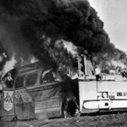 This Freedom Rider bus went up in flames when a fire bomb was tossed through a window near Anniston, Alabama in 1961