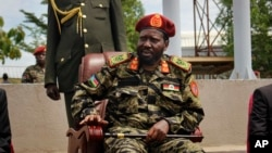 South Sudan's President Salva Kiir attends a ceremony marking the 34th anniversary of the Sudan People's Liberation Army (SPLA) in the capital Juba, South Sudan Thursday, May 18, 2017.