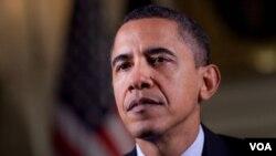 Presiden AS Barack Obama dalam pidato mingguannya, 1 Januari 2010.