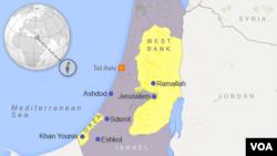 Peta wilayah Eshkol, Israel.
