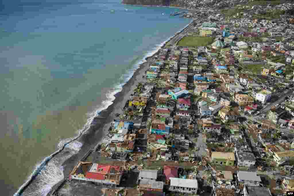 An aerial view of Roseau, capital of the Caribbean island Dominica, shows destruction three days after passage of Hurricane Maria.