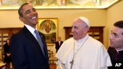 奧巴馬總統首次會見天主教教宗方濟各