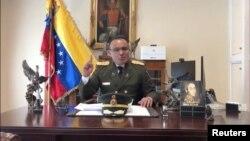 委內瑞拉駐美國大使館武官何塞•路易斯•席爾瓦上校在華盛頓的大使館辦公室發表視頻講話(2019年1月26日)
