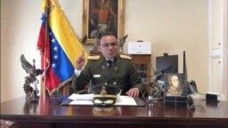委内瑞拉驻美国大使馆武官何塞·路易斯·席尔瓦上校在华盛顿的大使馆办公室发表视频讲话(2019年1月26日)