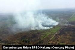 Kebakaran lahan masih menjadi ancaman di Kalimantan seperti dalam foto yang diambil 17/10/2018 lalu. (courtesy: Dansubsatgas Udara BPBD Kalteng).