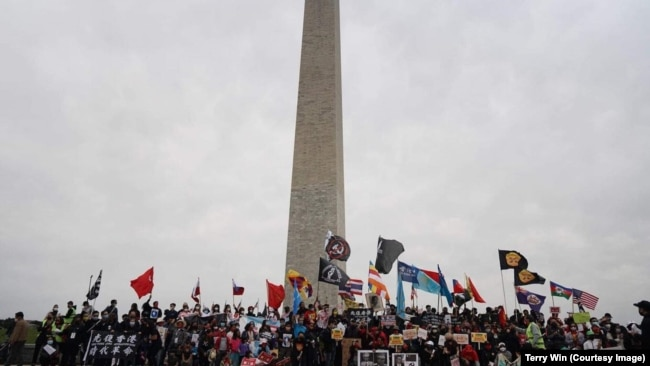 Demonstrators participate in Milk Tea Alliance Rally and March for Freedom in Washington, D.C. to show support for democracy in Asia and anti-China sentiment