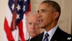 伊核協議達成後奧巴馬總統和拜登副總統在白宮講話
