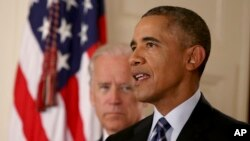 바락 오바마 미국 대통령이 14일 백악관에서 이란 핵 협상 타결에 대한 입장을 밝히고 있다. (자료사진)