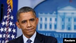 2013年10月8日美国总统奥巴马在白宫发表有关政府关闭问题的讲话。