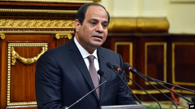 FILE - In this photo provided by Egypt's state news agency MENA, Egyptian President Abdel-Fattah el-Sissi, addresses parliament in Cairo, Feb. 13, 2016. He was recently listed in an eBay acution