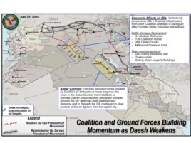 U.S. Defense Department map shows Coalition and Ground Forces in Syria and Iraq fighting Islamic State, or Daesh, fighters in the Anbar Corridor from Hadithah to Ramadi. (Courtesy: United States Central Command)
