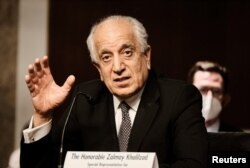 FILE - Zalmay Khalilzad, special envoy for Afghanistan Reconciliation, testifies during a Senate Foreign Relations Committee hearing on Capitol Hill in Washington, April 27, 2021.