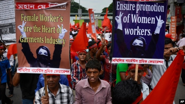 Protestors call for better working conditions for garment workers during a May Day rally in Dhaka, Bangladesh.