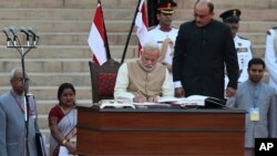 Narendra Modi Sworn In as India's Prime Minister, May 26, 2014.