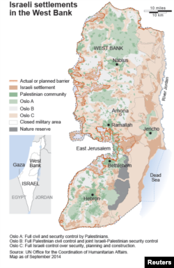 Map of Israeli settlements in the West Bank.