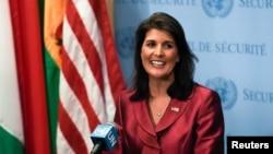 니키 헤일리 유엔주재 미국대사가 지난달 20일 뉴욕 유엔 본부에서 기자회견을 갖고 북한 문제 등에 관해 언급했다.