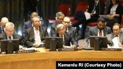Wakil Menteri Luar Negeri A.M. Fachir dalam sidang debat terbuka Dewan Keamanan PBB di New York hari Kamis (28/3) (courtesy: Kementrian Luar Negeri RI).