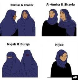 """Representação dos vários véus islâmicos. A lei francesa proibe os véus que ocultam a face: """"niqab"""" e """"burqa"""" (em baixo à esquerda)"""