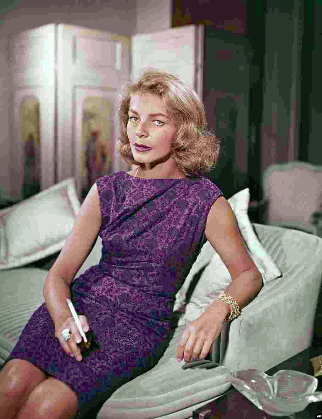 Actress Lauren Bacall at her home in New York, 1965. Bacall, the sultry-voiced actress died in New York, Aug. 12, 2014.