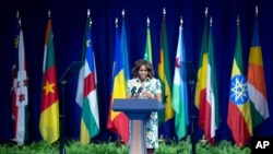 Michelle Obama akizungumza katika mkutano wa Viongozi Vijana wa frika - YALI, mjini Washington Julai 30 2014