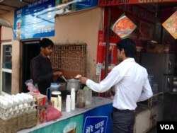 Tea is commonly sold at street corners throughout the country. (A. Pasricha/VOA)