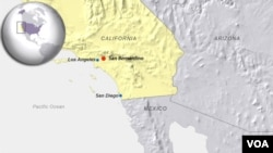 A map showing the location of San Bernardino, California