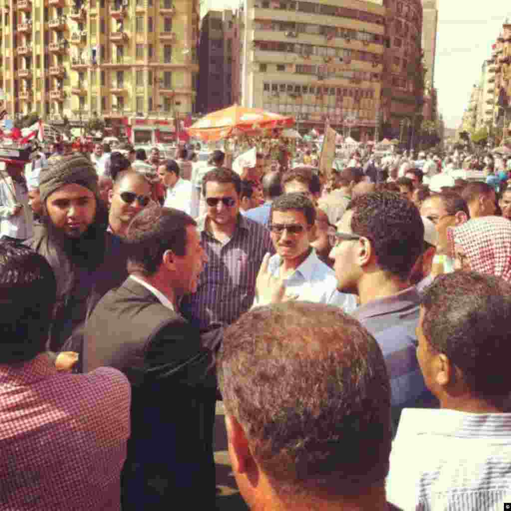 A debate brews among Tahrir Square protesters after a weekend of Egypt elections on June 15th, 2012 in Cairo.